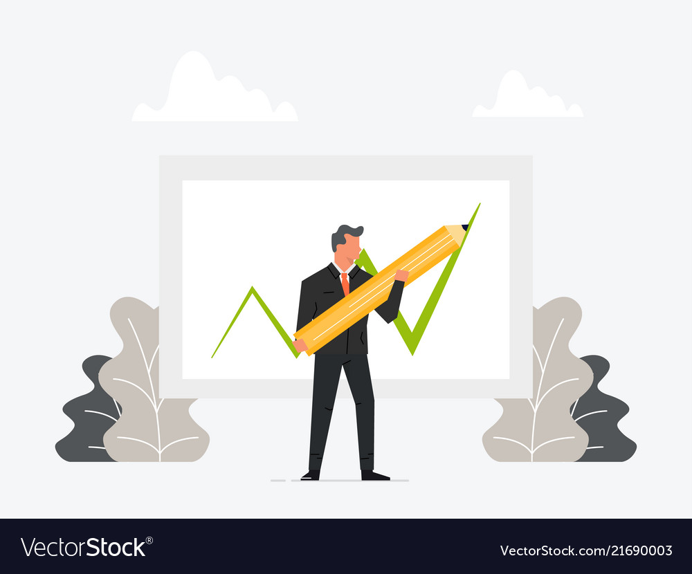 Businessman holding pen or pencil and draw growth