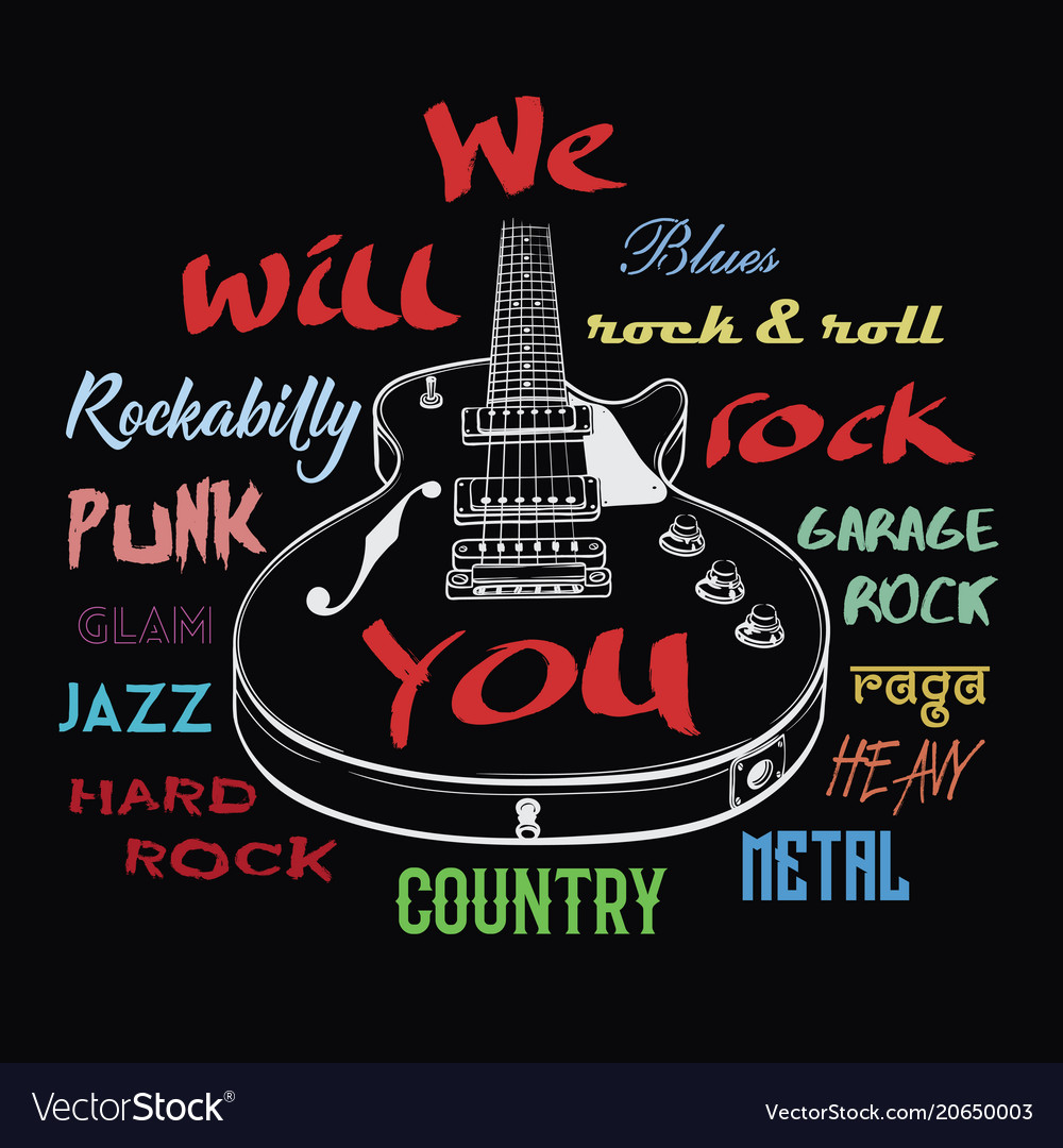 Electric guitar and we will rock you sign