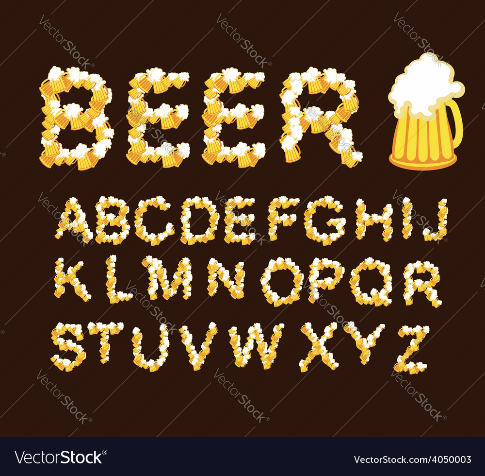 Font beer Letters from beer mugs