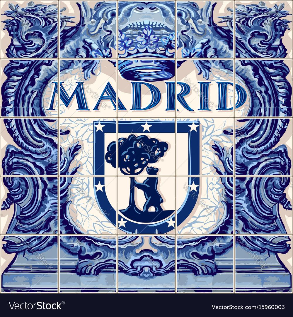 Madrid ceramic tiles blue souvenir