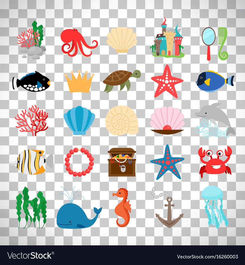 Marine life and cartoon ocean animals vector image