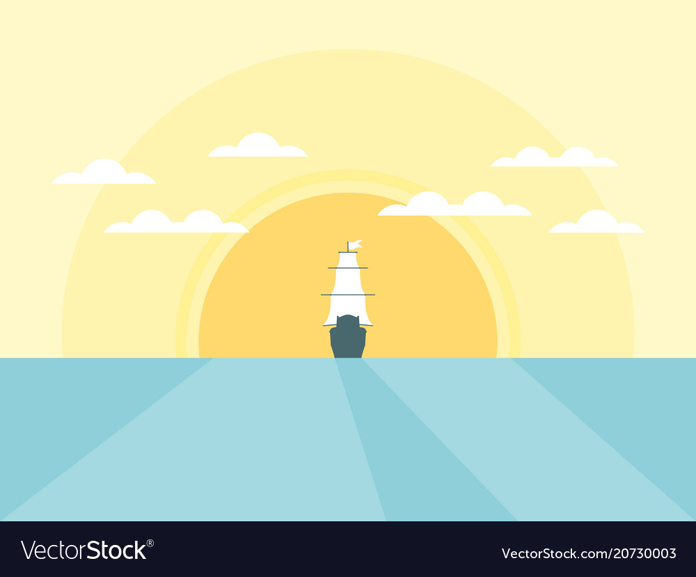 Sailing ship in the background of the sun