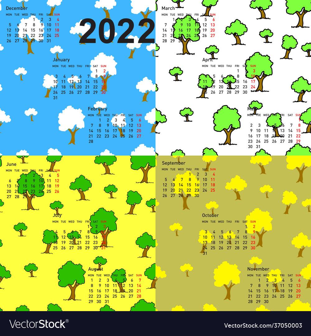 April 2022 Wallpaper Calendar.Seamless Wallpaper 2022 Calendar Days Year Vector Image