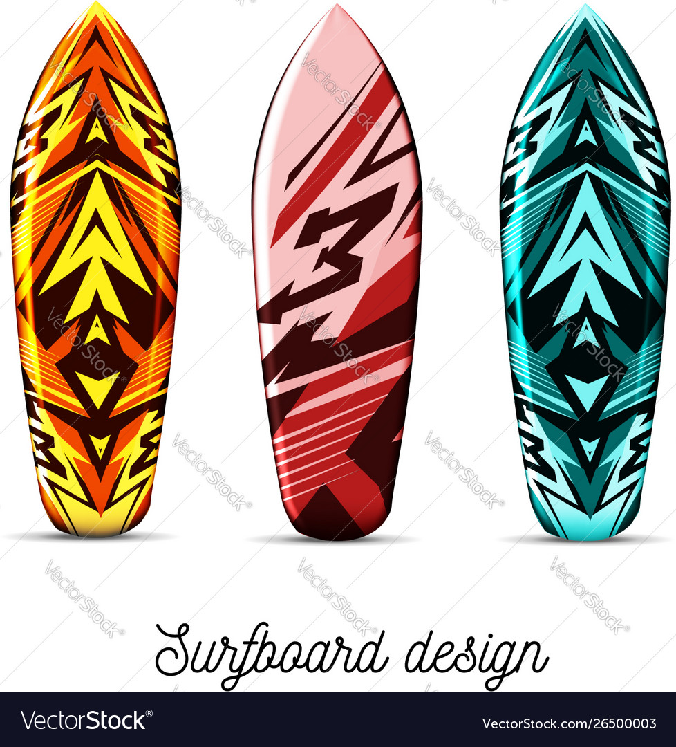 Set designs for surfer boards on a white