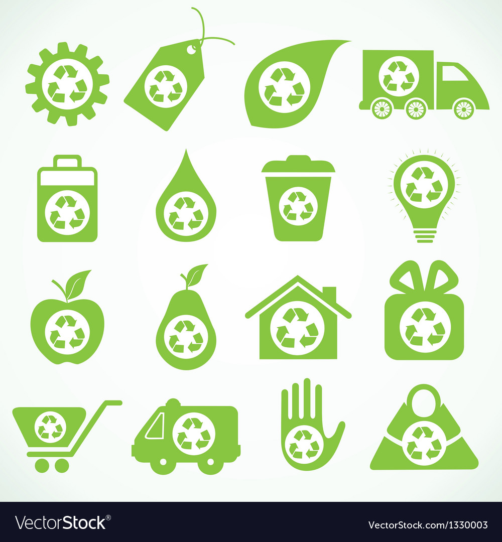 Set of 20 eco icons vector image