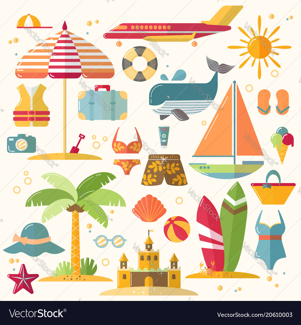 Summer holiday tourism and vacation flat icons