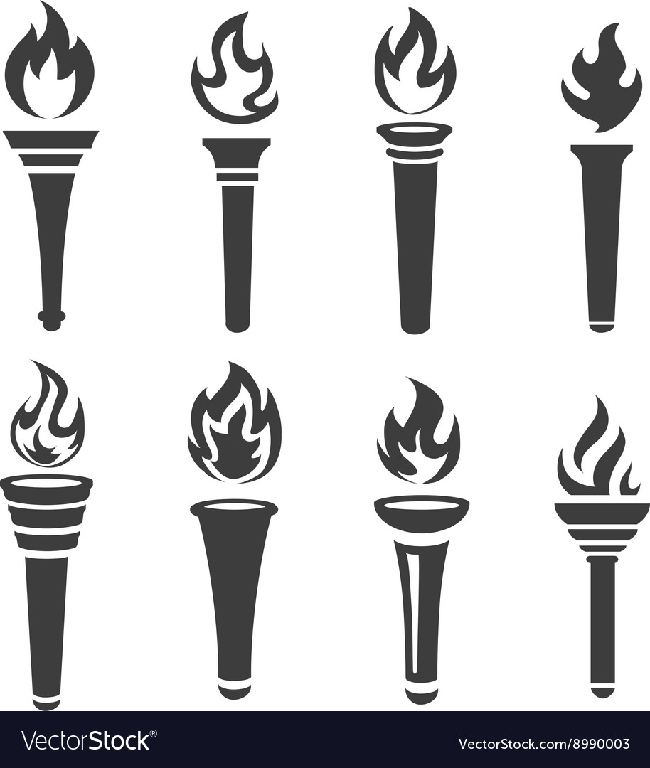 Torch icons black set
