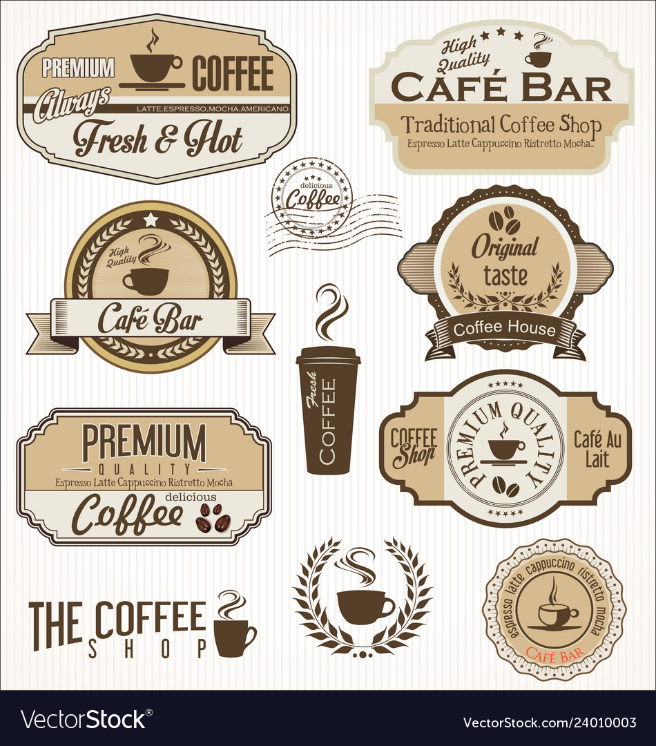 Vintage coffee labels and badges collection