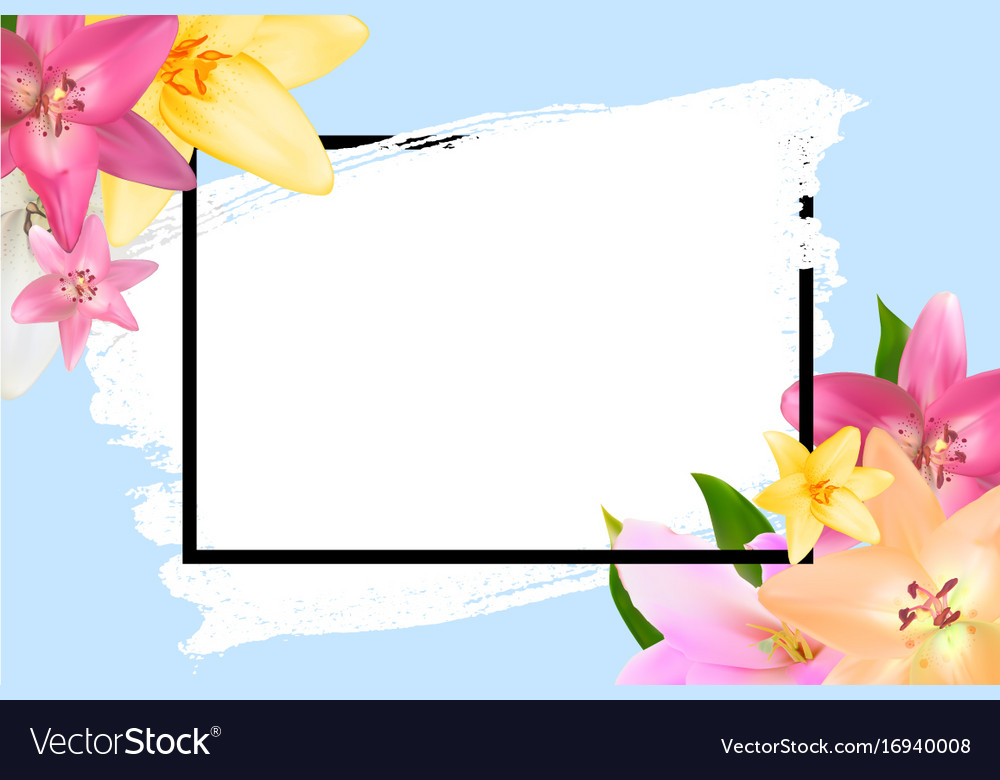 Abstract frame with lily flower natural Royalty Free Vector