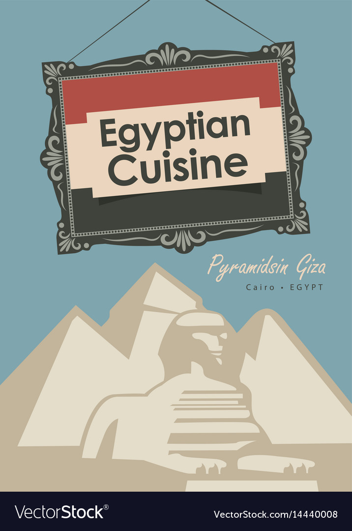 Banner restaurant egyptian cuisine with pyramid vector image