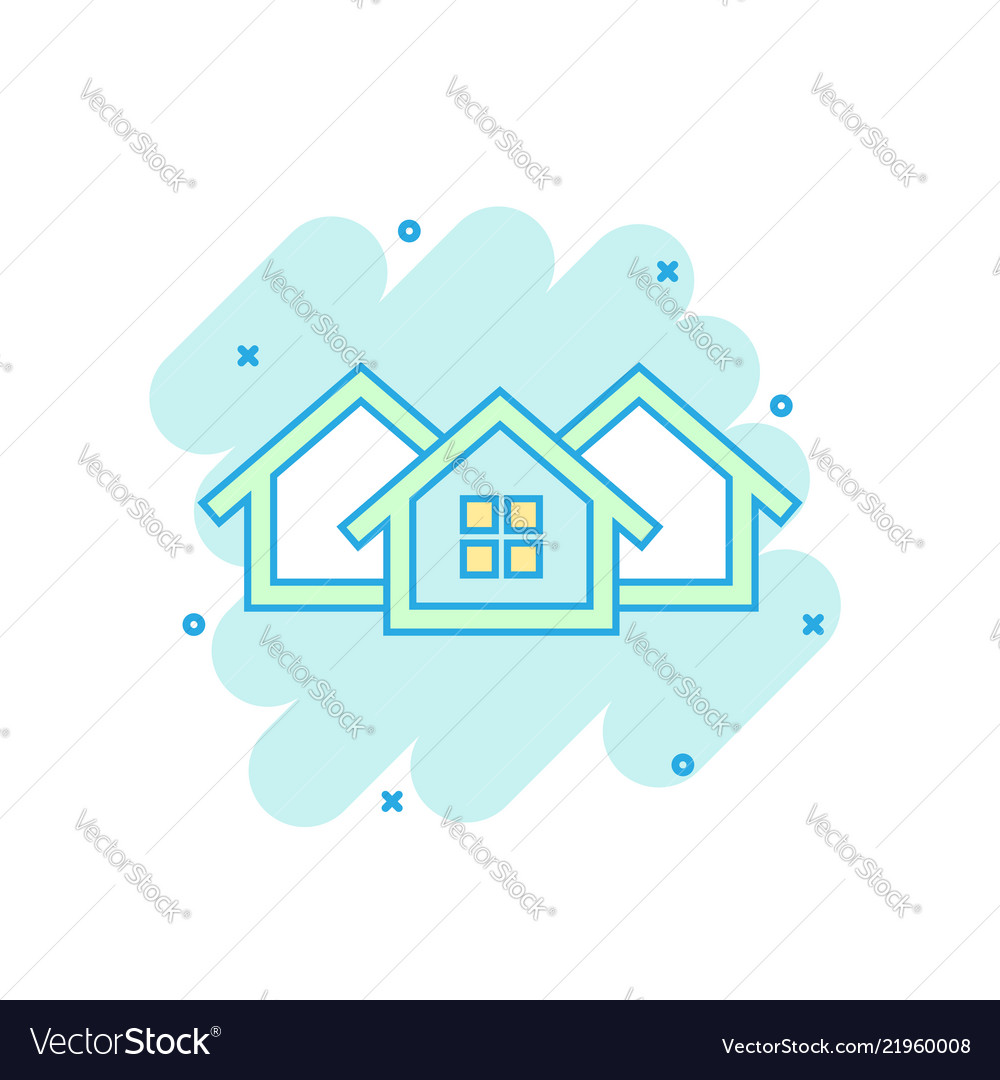Cartoon colored house icon in comic style home