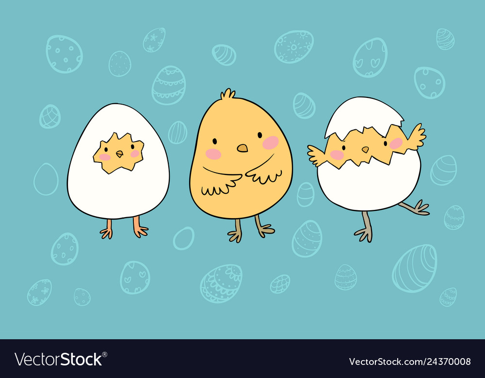 Cute cartoon easter chickens eggs and birds