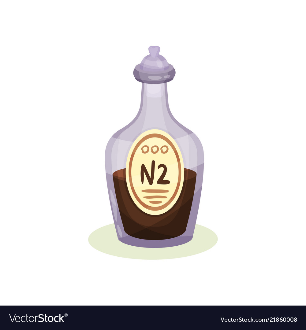 Flat icon of glass bottle with brown