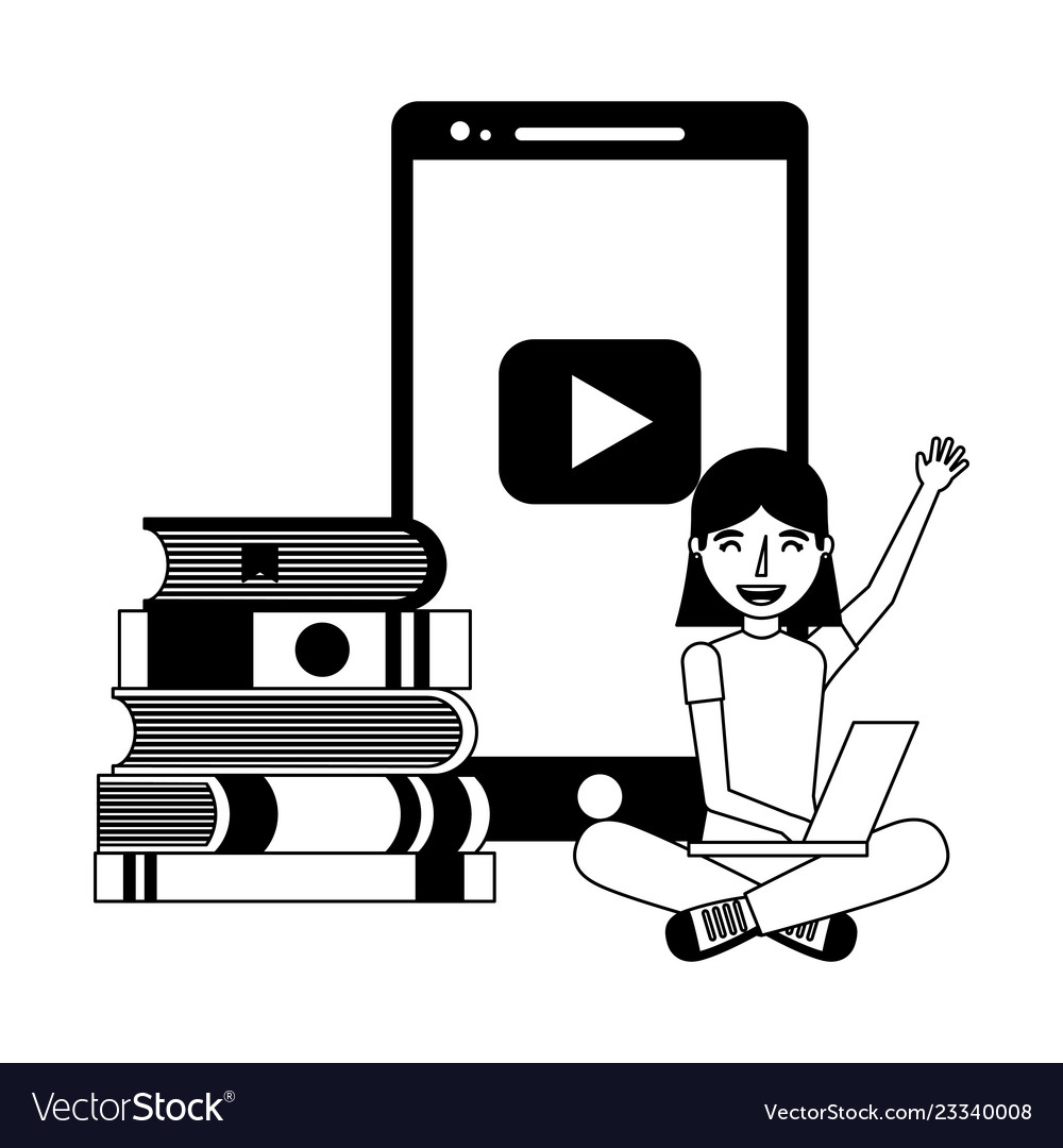 Girl with laptop and books education online