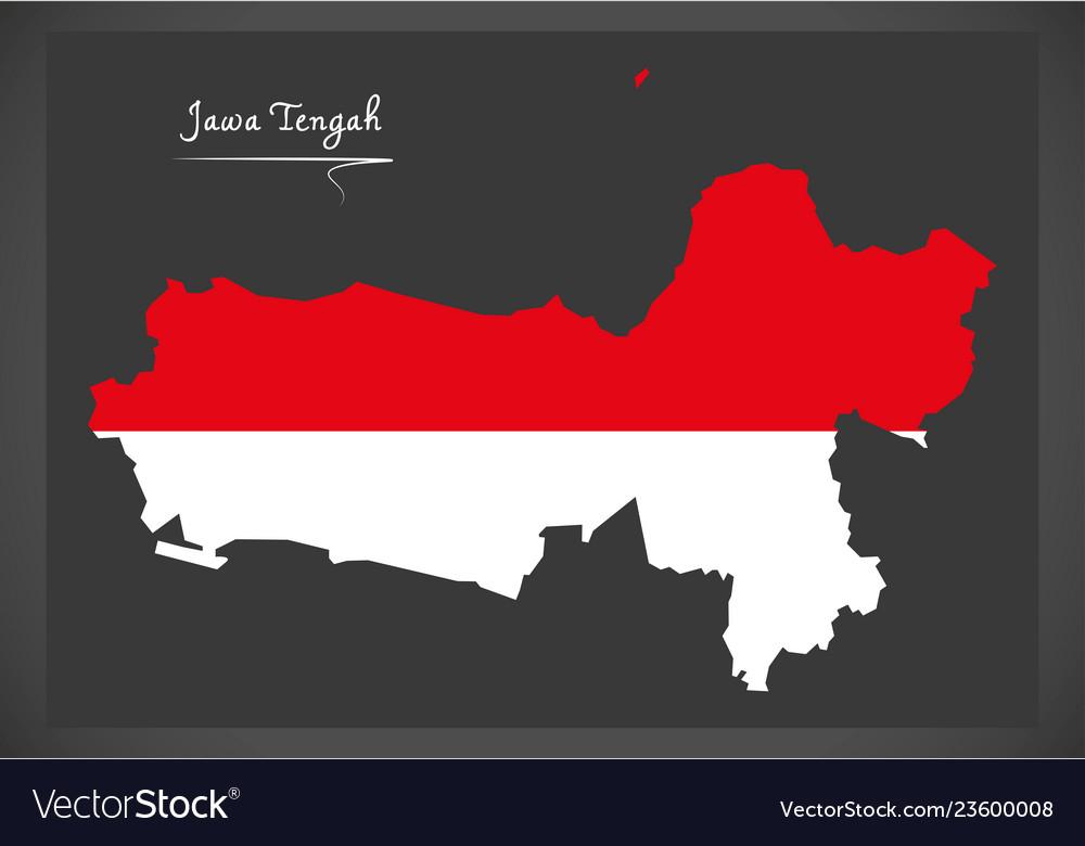 Jawa tengah indonesia map with indonesian