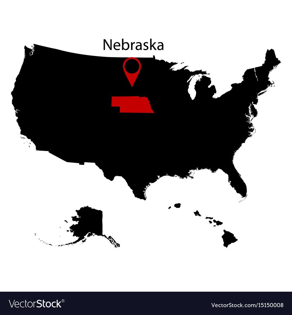 Map of the us state of nebraska