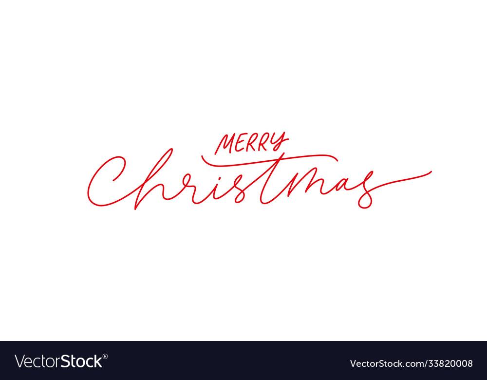 Merry christmas brush pen red lettering