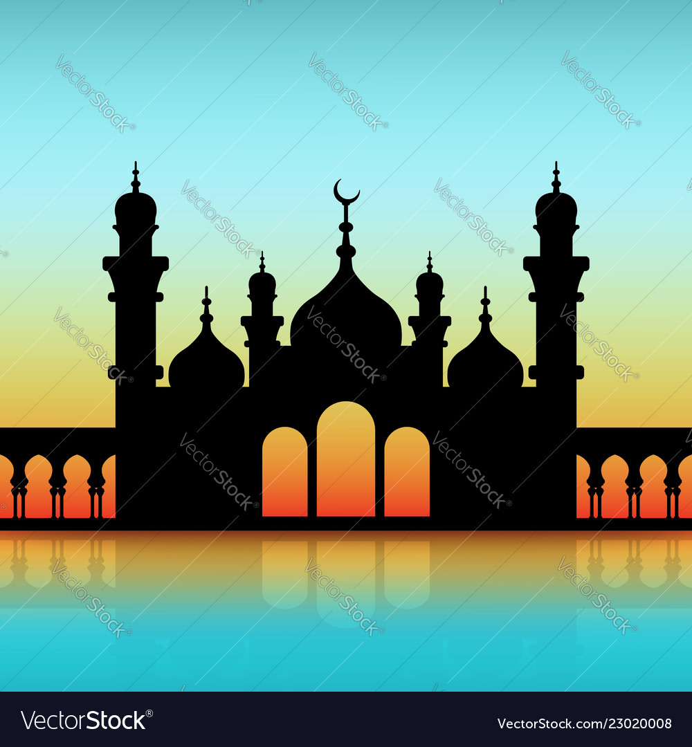Mosque black silhouette on dawn sky