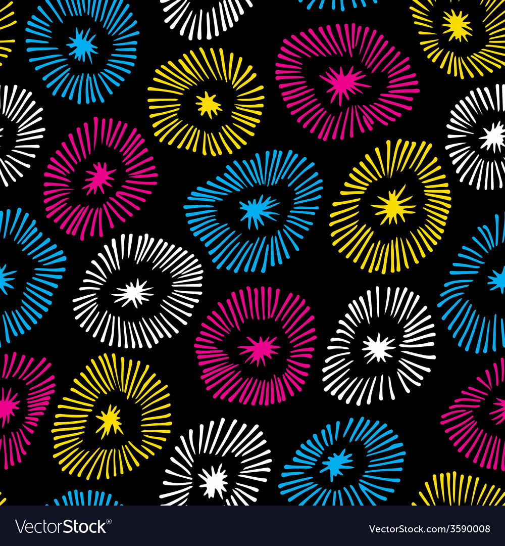 Seamless pattern with flowers on black back
