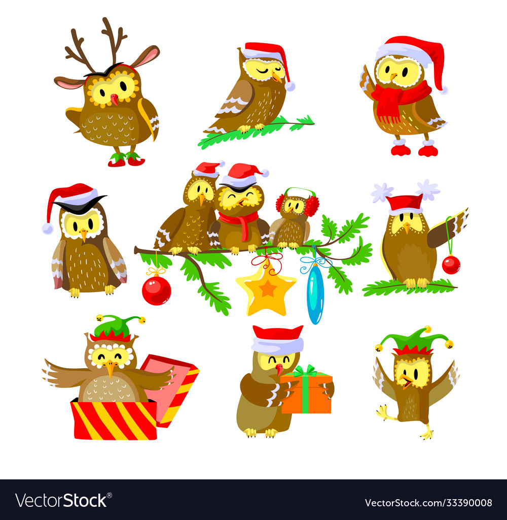 Set christmas owls funny birds in santa claus