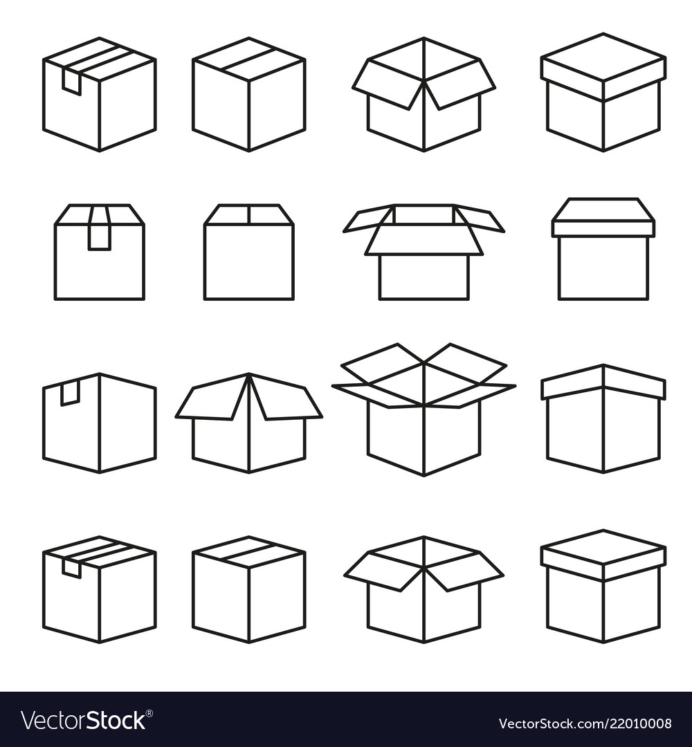 Set of abstract box line icons editable stroke