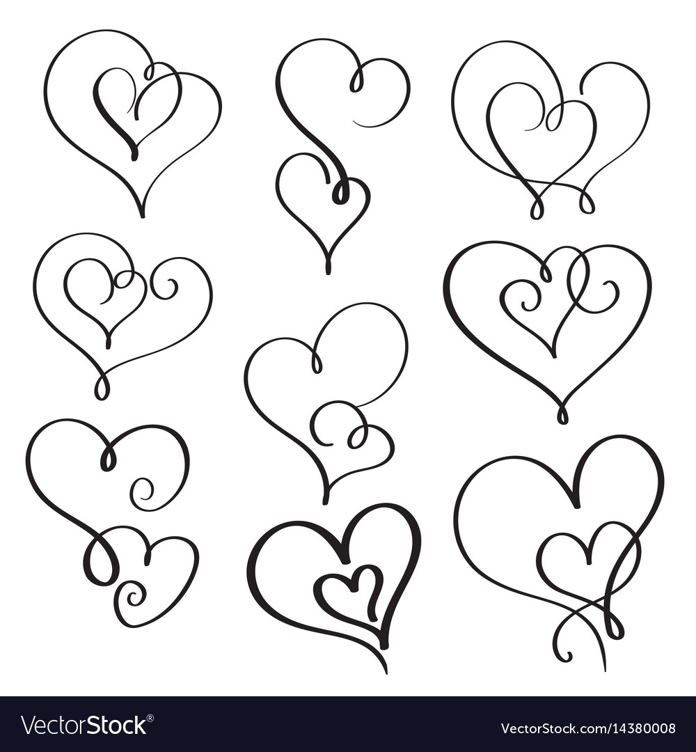 Set of flourish calligraphy vintage hearts vector image