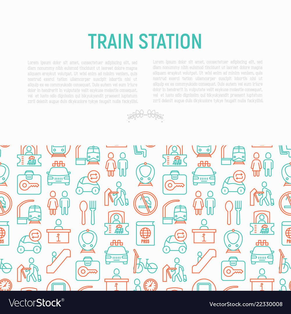 Train station concept with thin line icons