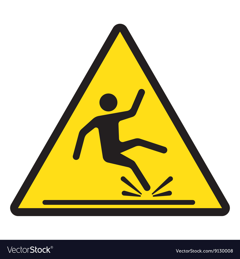 Wet floor caution sign vector image