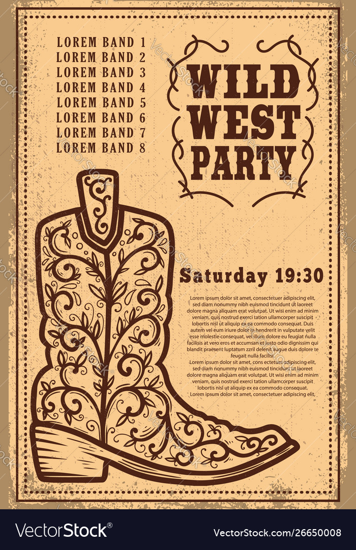 Wild west party poster template with cowboy boot