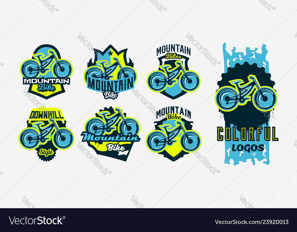 A colorful collection of logos emblems mountain