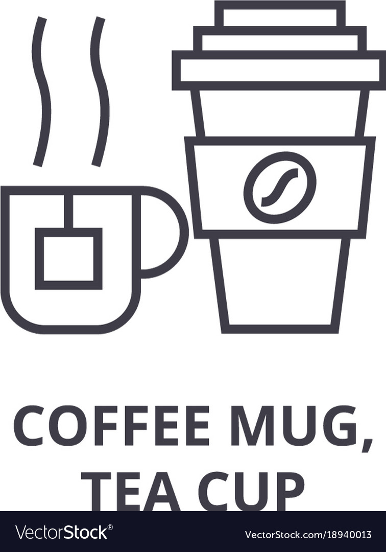 Coffee mug tea cup line icon outline sign vector image