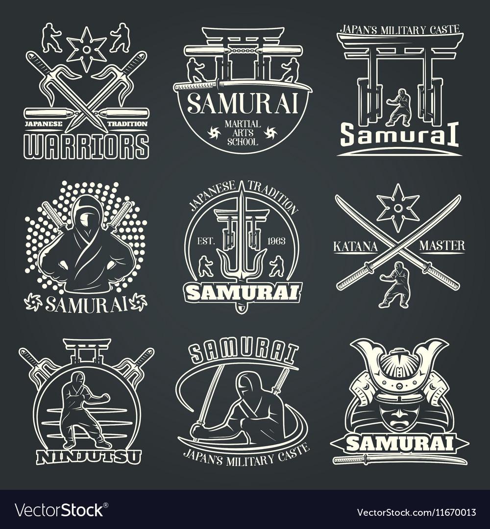 Dark Samurai Emblems Royalty Free Vector Image