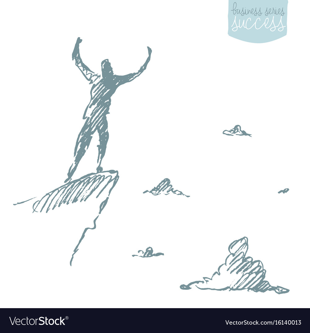 Drawn silhouette man top hill sketch vector image