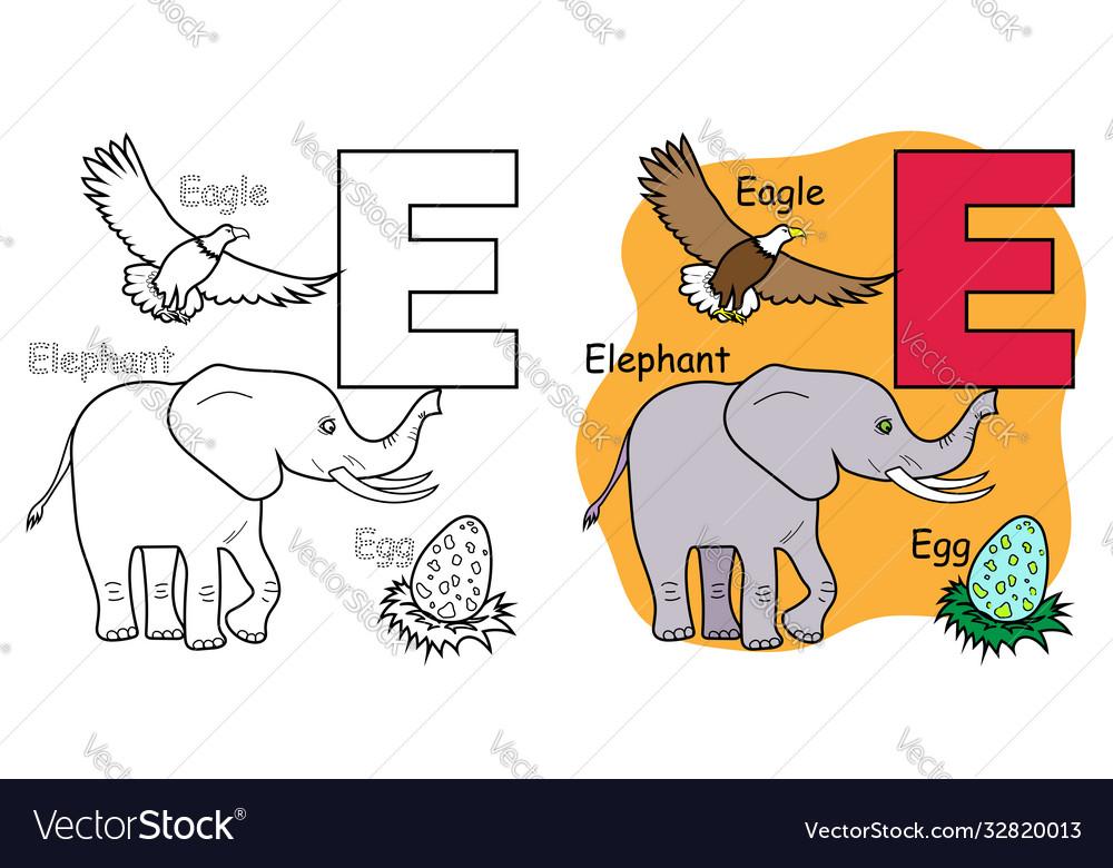 - English Alphabet Coloring Book E Royalty Free Vector Image