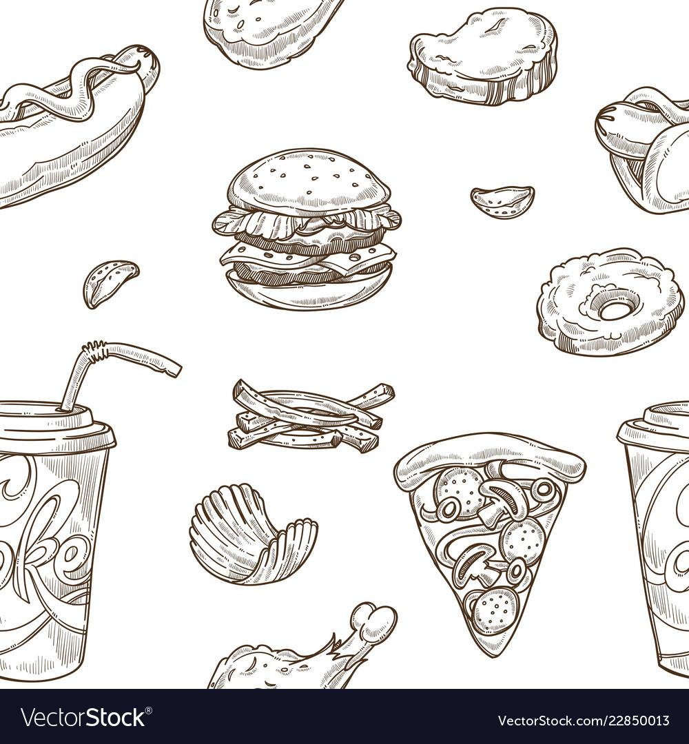 Fast food sketch pattern background