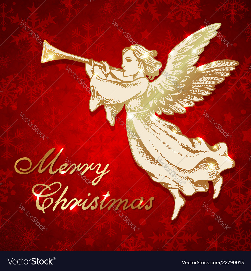 Christmas Angel.Golden Christmas Angel With Trumpet