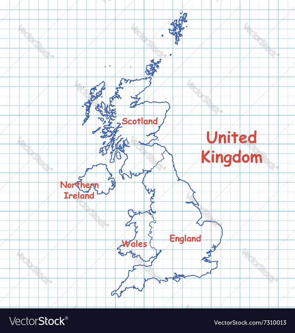 Map of UK United Kingdom drawn with blue pen