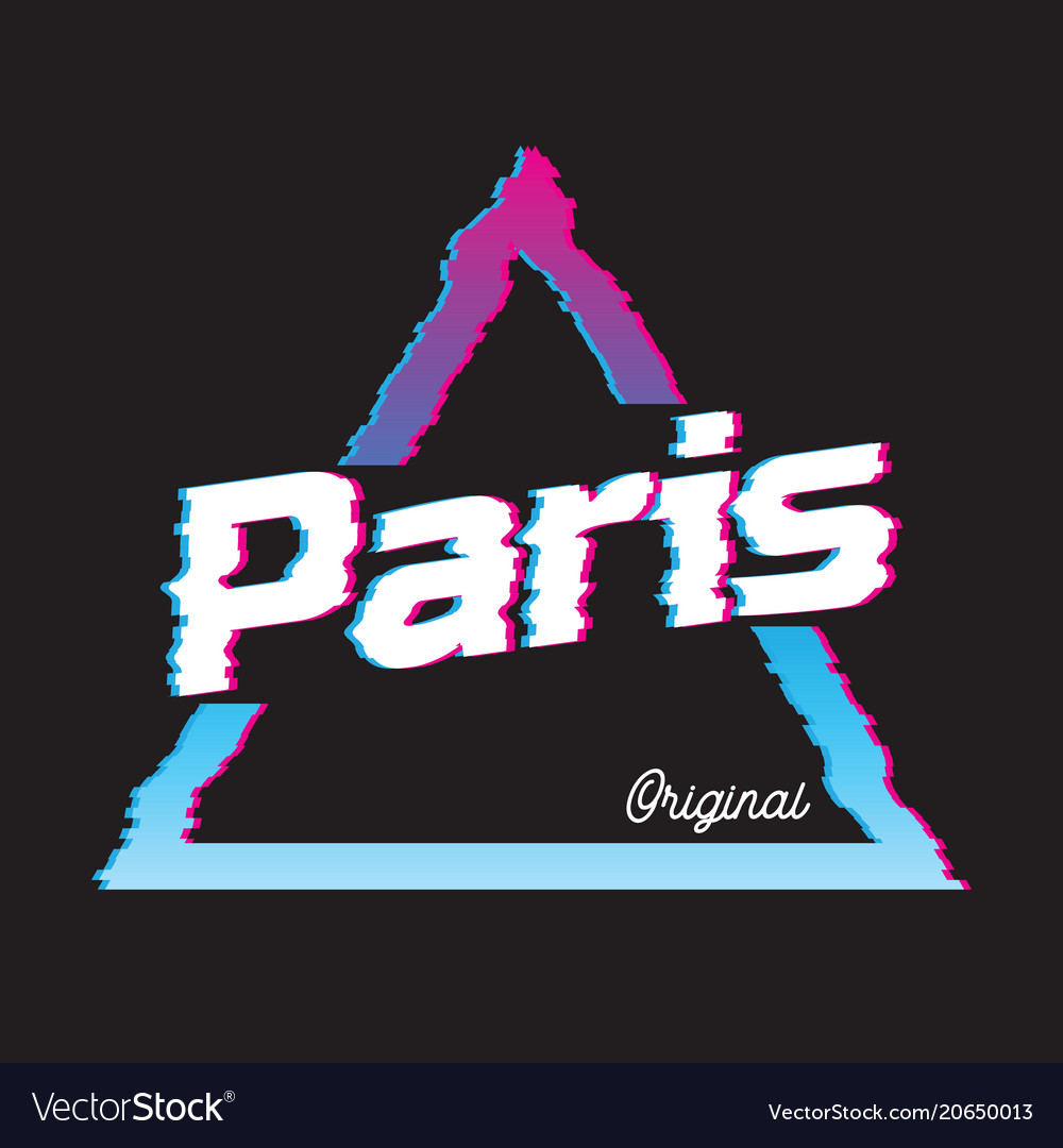 7fc0dab3cfbeb Paris city glitch effect retro Royalty Free Vector Image