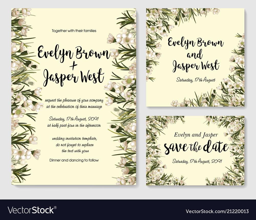 Pastel floral frame set elegant white wax