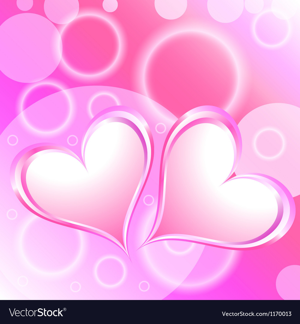 Pink Heart Shiny Holiday Background vector image