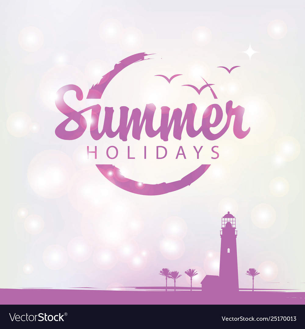Summer banner with lighthouse and palm trees