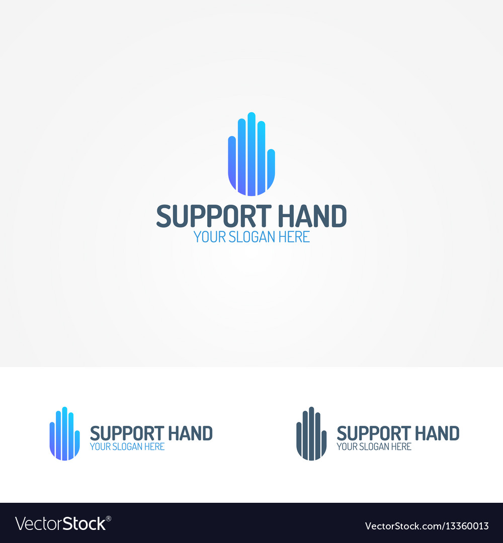 Support hand logo consisting of line