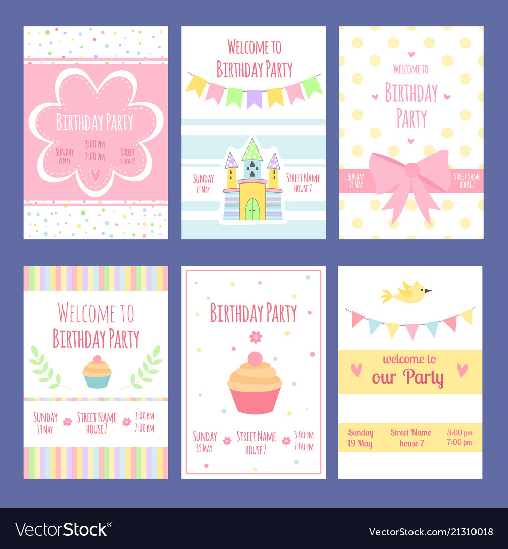 Birthday invitation cards template with royalty free vector birthday invitation cards template with vector image filmwisefo