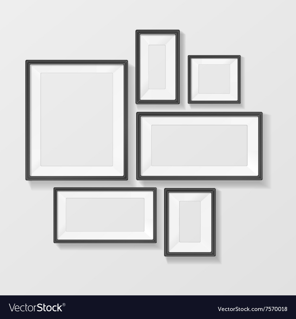 Black Picture Frame Template Set Royalty Free Vector Image