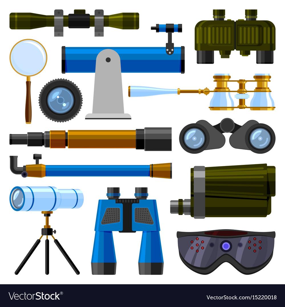 Camera lens and binoculars glass spypyglass vector image