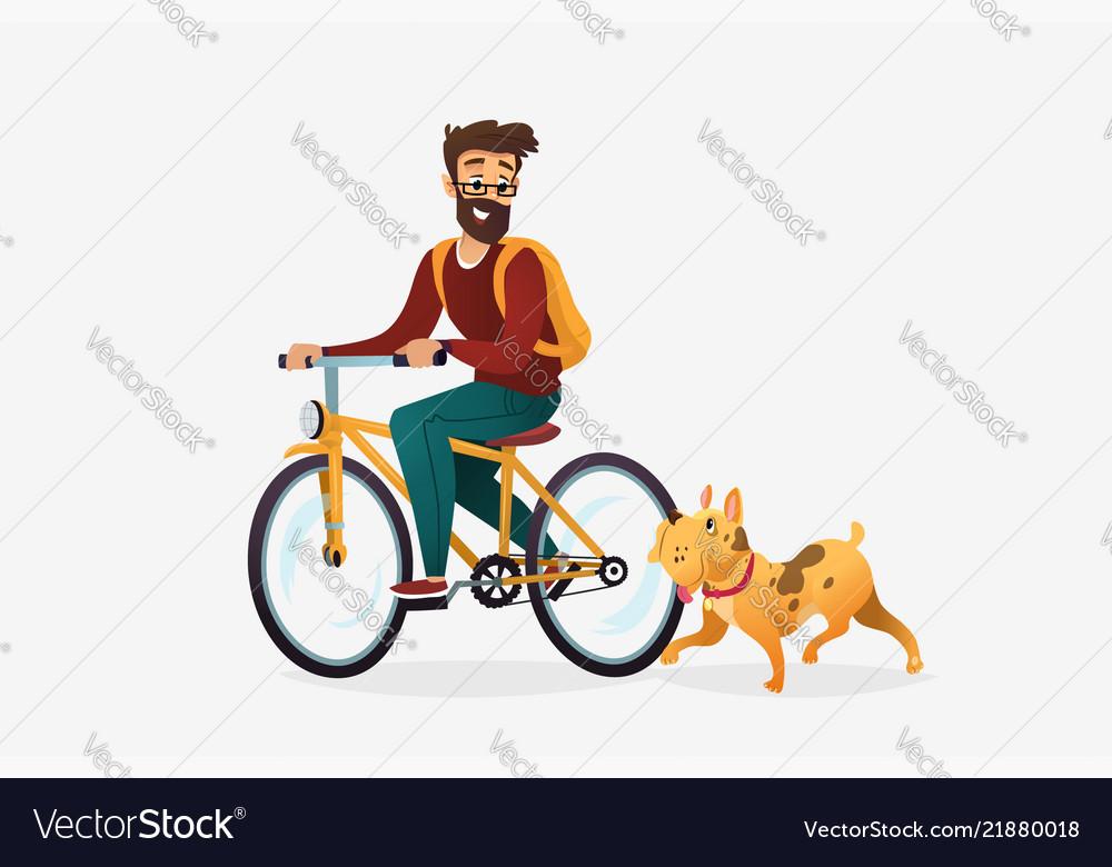 Cartoon of young man riding