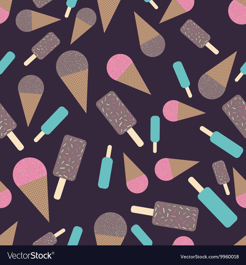 Chocolate and strawberry icecream seamless pattern