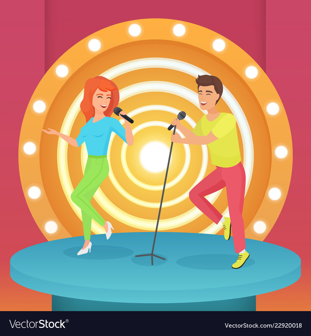 Couple man and woman singing karaoke song with