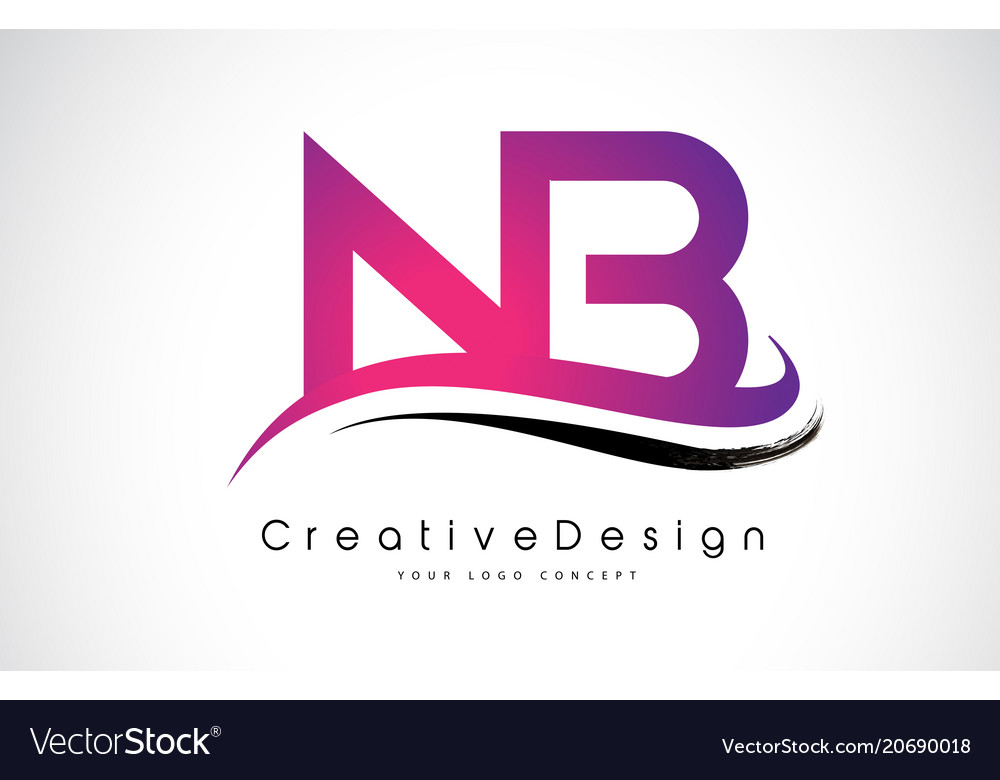 nb n b letter logo design creative icon modern vector image