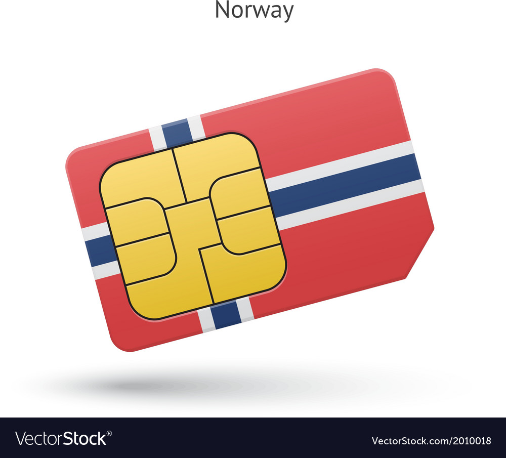 Norway mobile phone sim card with flag vector image